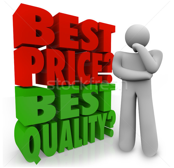 Stock photo: Buyer Person Thinking Best Price Vs Quality Choosing Priority