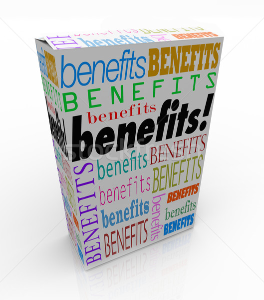 Benefits Word Product Box Marketing Unique Qualities Stock photo © iqoncept