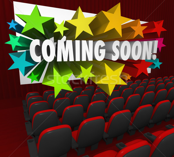 Movie Theatre Screen Coming Soon Preview Trailer New Attraction Stock photo © iqoncept