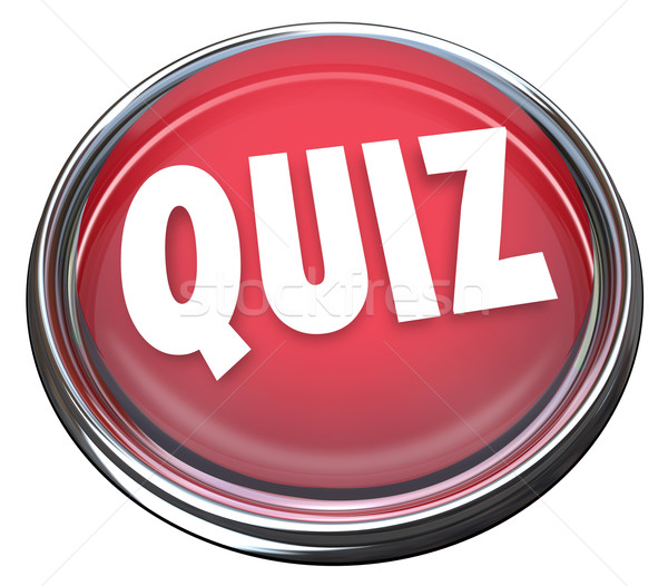 Quiz Rood knop woord test evaluatie Stockfoto © iqoncept