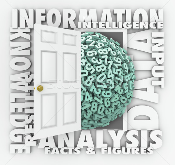 Data Information Retrieval Research Numbers Figures Door Stock photo © iqoncept