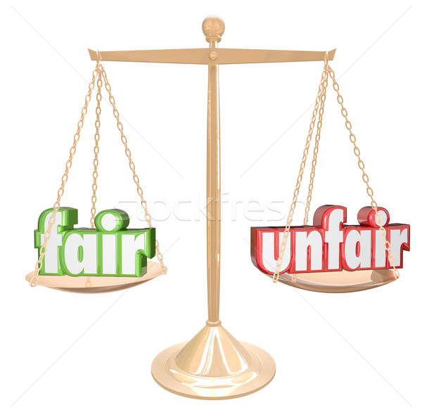 Fair Vs Unfair Words Scale Balance Justice Injustice Stock photo © iqoncept