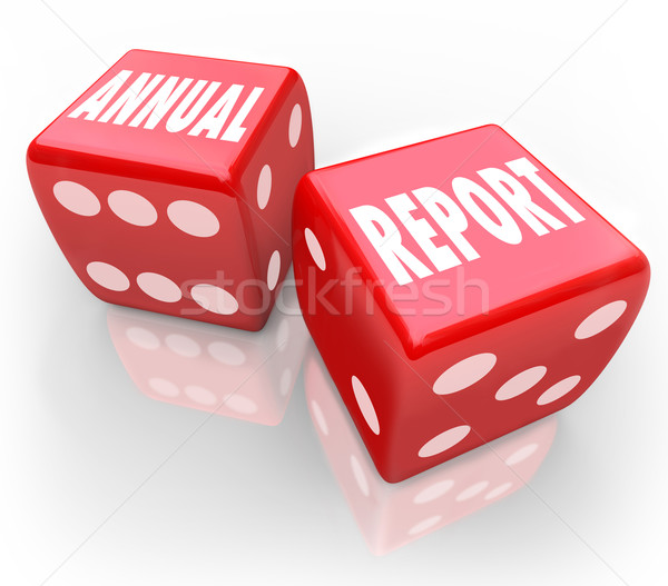 Annual Report Words Dice Gamble Bet Company Financial Results Stock photo © iqoncept