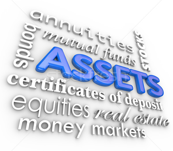 Assets Word Collage Stocks Bonds Investments Money Wealth Value Stock photo © iqoncept