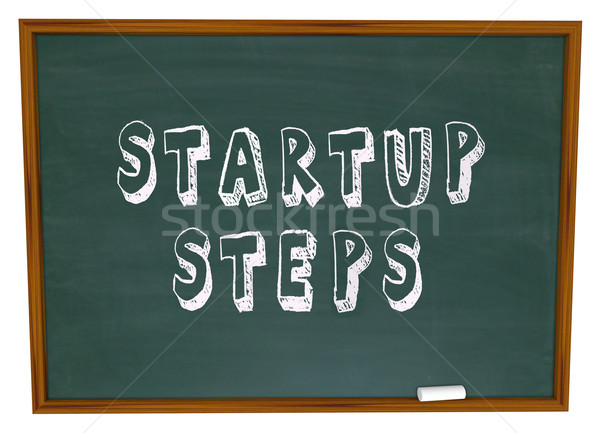 Startup Steps Words Chalk Board Learning New Business Management Stock photo © iqoncept
