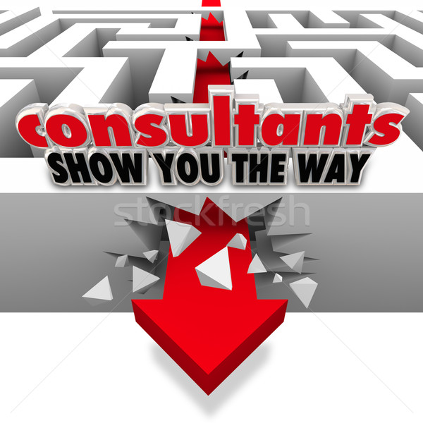 Consultants Show You the Way Maze Arrow Breaking Walls Stock photo © iqoncept
