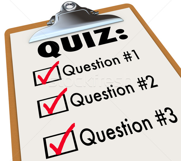 Quiz Word Clipboard Three Questions Answers Test Evaluation Stock photo © iqoncept