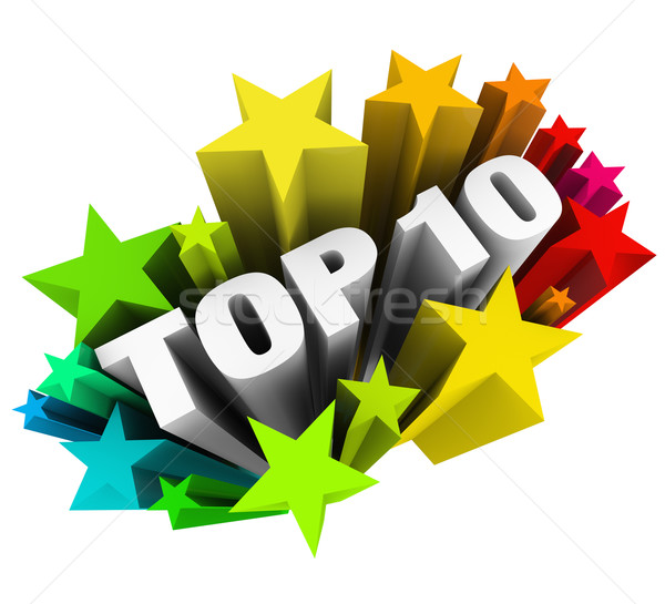 Top 10 Ten Stars Celebrate Best Review Rating Award Stock photo © iqoncept