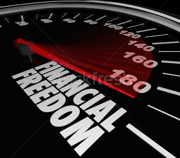 Financial Freedom Speedometer Earning Income Money Savings Stock photo © iqoncept