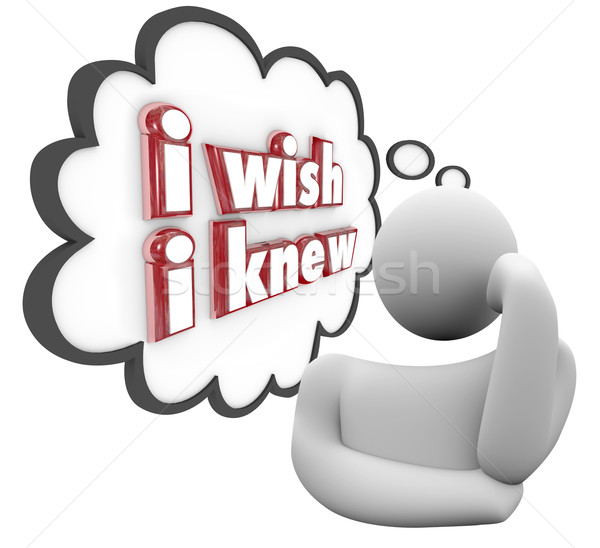 I Wish I Knew Person Thinking Thought Cloud Wondering Question K Stock photo © iqoncept