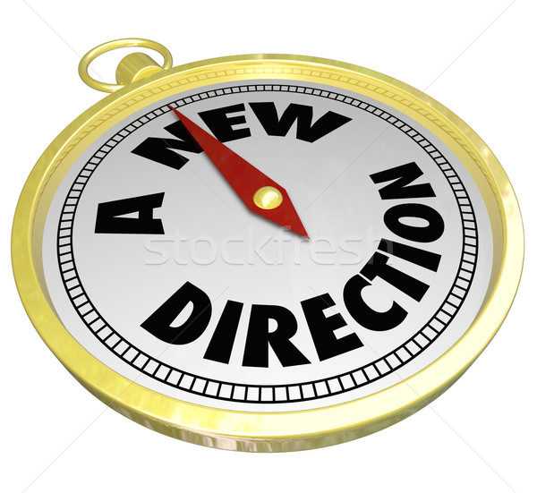 Stock photo: A New Direction Words Gold Compass Choose Change Career Path