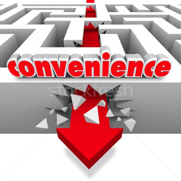 Convenience Word Arrow Breaks Through Maze Walls Stock photo © iqoncept