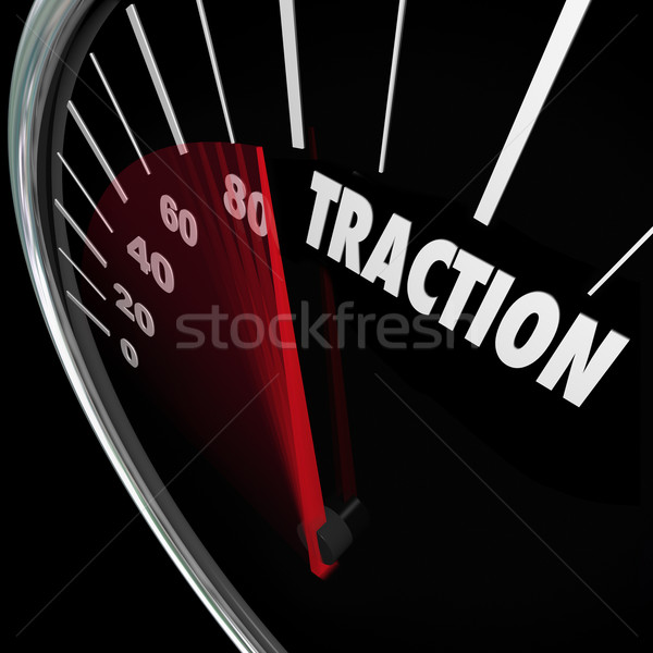 Traction Gaining Ground Momentum Speedometer Measure Progress Stock photo © iqoncept