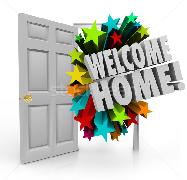 Welcome Home 3d Stars Open Door Greeting Homecoming Stock photo © iqoncept