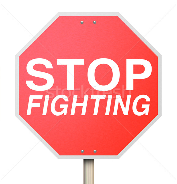 Stop Fighting Red Road Traffic Sign Ceasefire Peace Truce Treaty Stock photo © iqoncept