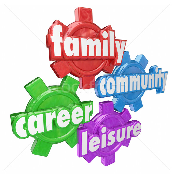 Family Career Community Leisure Words Spending Balancing Time Ge Stock photo © iqoncept