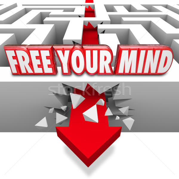 Free Your Mind Words Arrow Breaking Through Maze Creative Imagin Stock photo © iqoncept