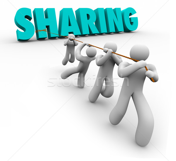Sharing Economy People Team Pulling Word Working Together Stock photo © iqoncept