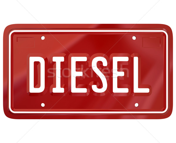 Diesel Red License Plate Alternative Fuel Car Auto Vehicle Stock photo © iqoncept
