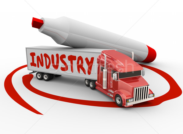 Industry Word Trailer Truck Driving Manufacturing Logistics Busi Stock photo © iqoncept