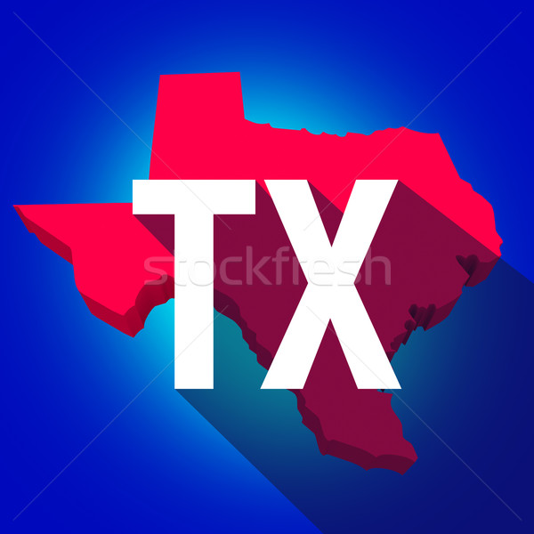 Texas TX Letters Abbreviation Red 3d State Map Long Shadow Circl Stock photo © iqoncept