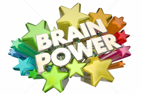 Brain Power Smarts Intelligence IQ Words Stars 3d Illustration Stock photo © iqoncept