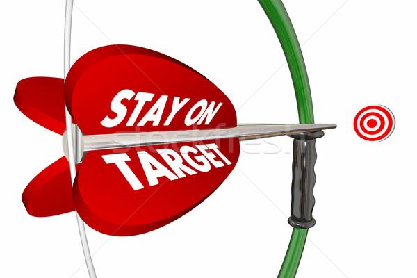 Stay on Target Aim Focus Success Bow Arrow 3d Illustration Stock photo © iqoncept