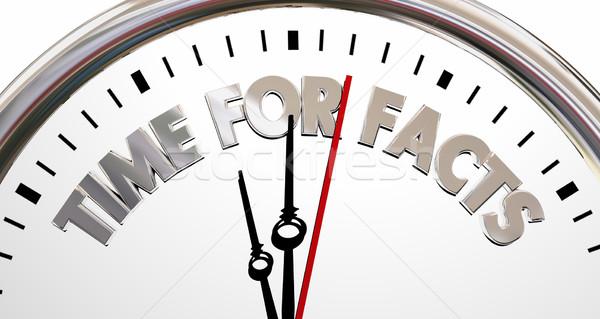 Tempo fatos verdade realidade pesquisa relógio Foto stock © iqoncept