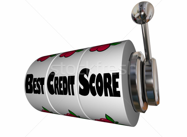Best Credit Score Rating Slot Machine Wheels 3d Illustration Stock photo © iqoncept