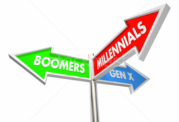 Millennials Geration X Baby Boomers Road Signs 3d Illustration Stock photo © iqoncept