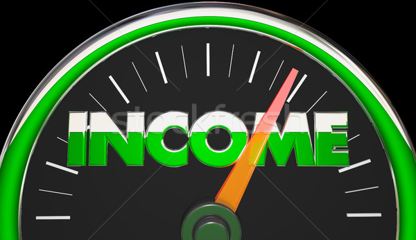 Income Earnings Salary Wages Raise Speedometer 3d Illustration Stock photo © iqoncept