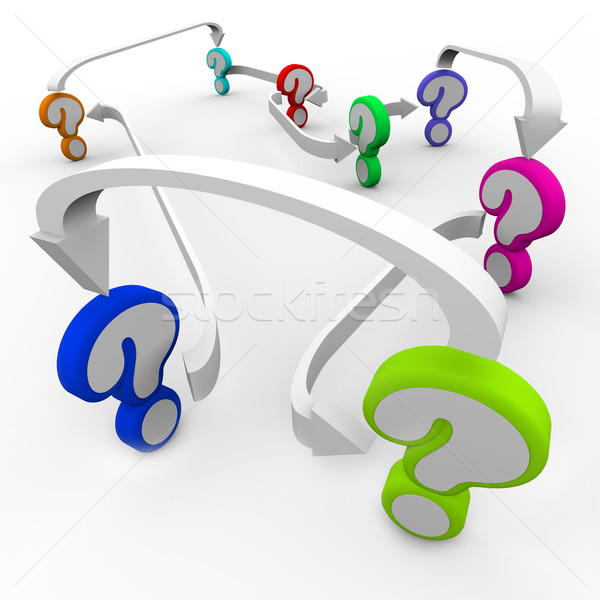 Questions Lead to More Mysteries Connected with Arrows Stock photo © iqoncept