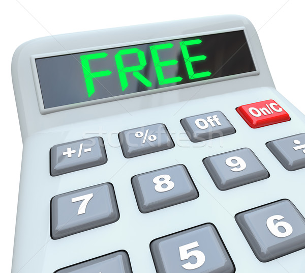 Free Word on Calculator Shows Savings in Sale or Discount Promot Stock photo © iqoncept