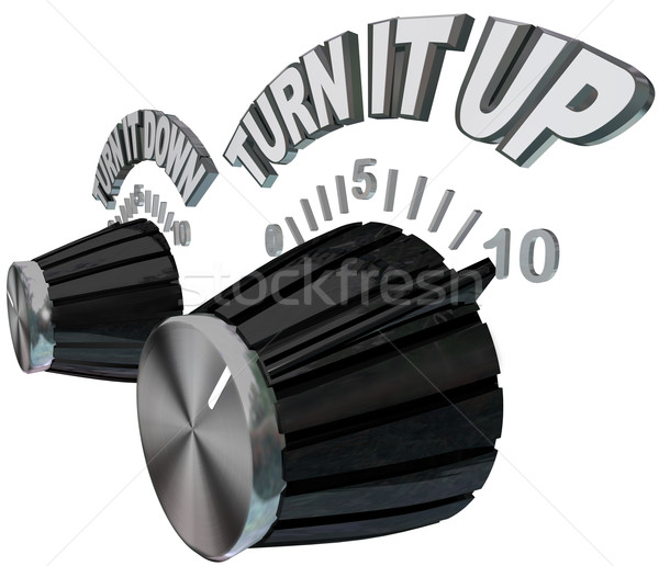 Turn It Up - Dial Knob Turning Up to Max Volume Level Stock photo © iqoncept
