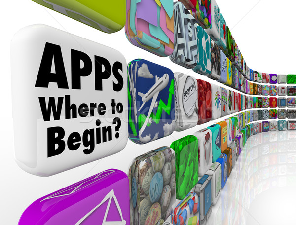 Apps Where to Begin Wall of App Tiles Many Confusing Choices Stock photo © iqoncept