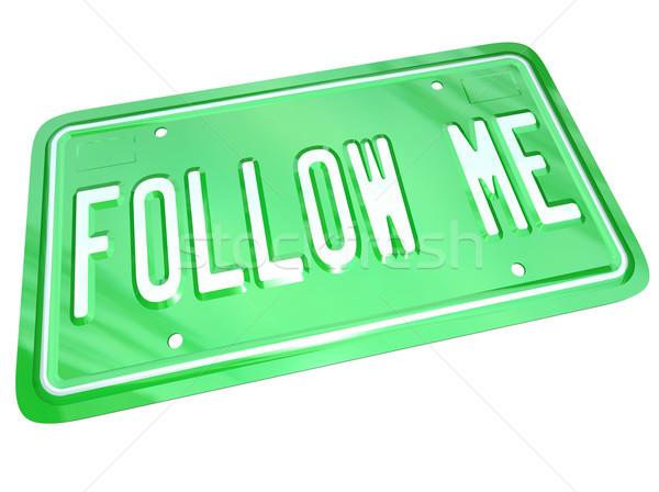 Me kentekenplaat leider tonen manier groene Stockfoto © iqoncept