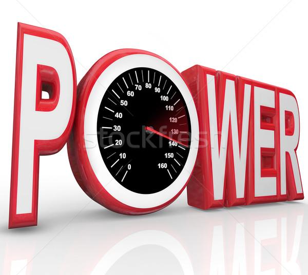 Macht woord snelheidsmeter krachtig energie snelheid Stockfoto © iqoncept
