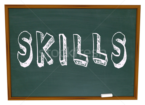 Skills Word on Chalkboard Learn New Things in School Stock photo © iqoncept