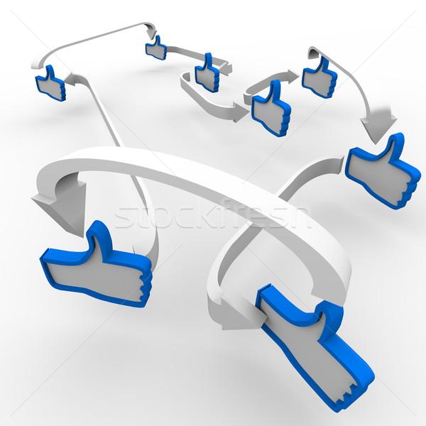 Başparmak yukarı gibi semboller iletişim birkaç Stok fotoğraf © iqoncept
