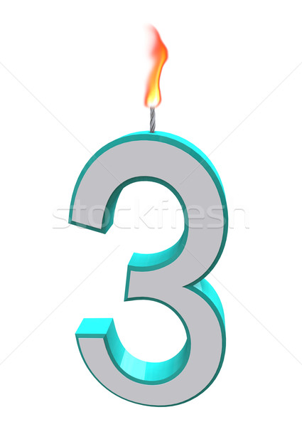 Number Three Candle Stock photo © iqoncept