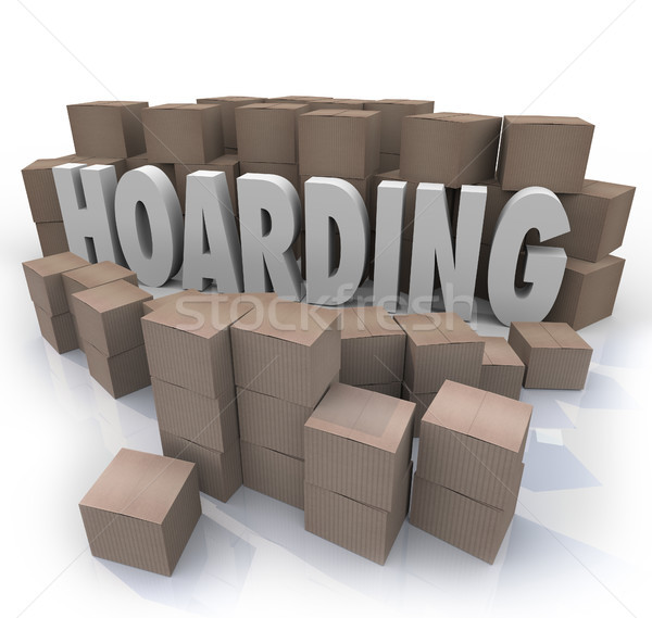 Hoarding Boxes Piled Up Word Collection Mess Trash Stock photo © iqoncept