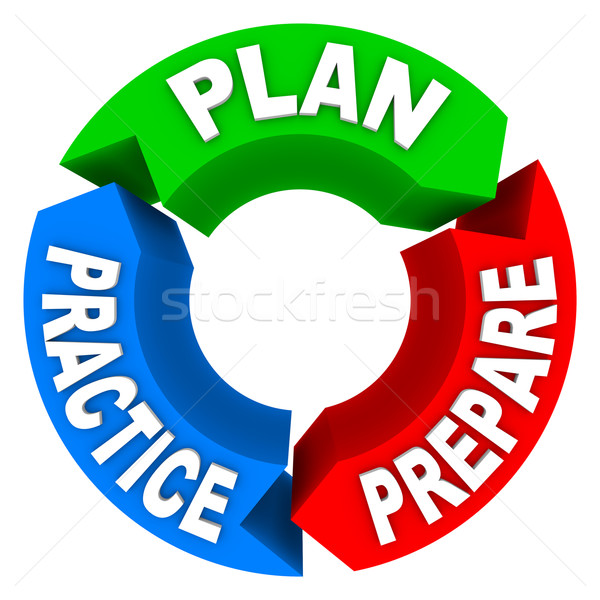 Plan Practice Prepare - 3 Arrow Wheel Stock photo © iqoncept