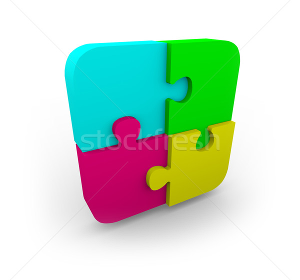 Four Puzzle Pieces Fit Together Stock photo © iqoncept
