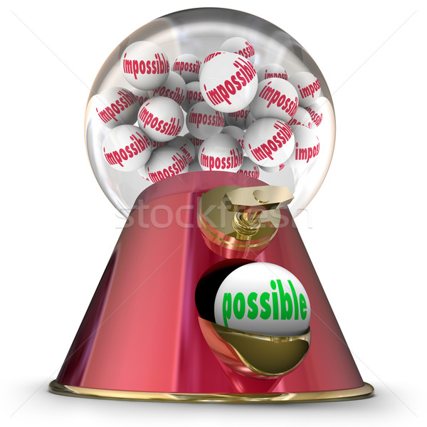 Possible Vs Impossible Gumball Dispenser Machine Hope Success Stock photo © iqoncept