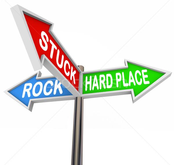 Bloccato rock luogo arrow segnaletica stradale illustrato Foto d'archivio © iqoncept