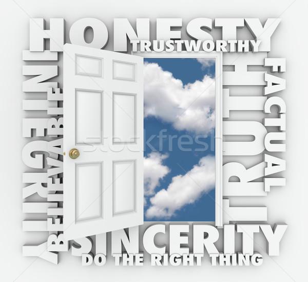 Szczerość prawda 3D słowo drzwi godny zaufania Zdjęcia stock © iqoncept