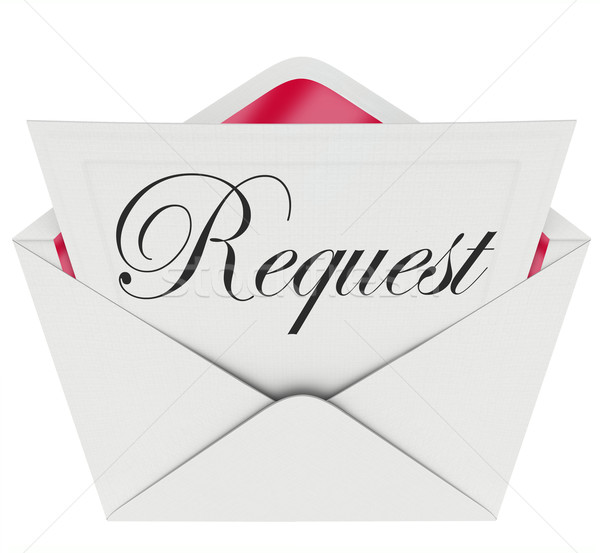 Request Envelope Word Note Letter Asking for Help Stock photo © iqoncept