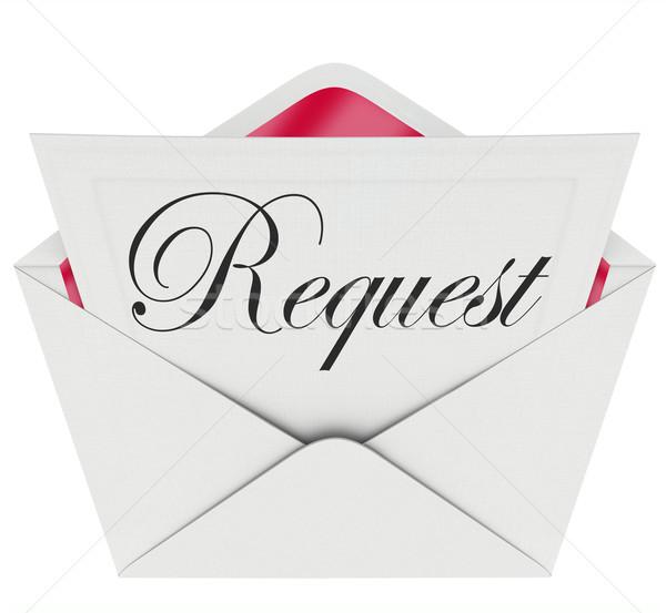 Aanvragen envelop woord nota brief vragen Stockfoto © iqoncept