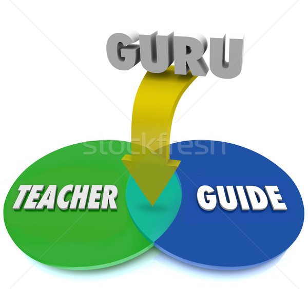 Guru Venn Diagram Teacher Guide Expert Master Overlapping Circle Stock photo © iqoncept