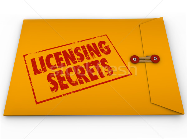 Licensing Secrets Yellow Envelope Help Advice License Informatio Stock photo © iqoncept